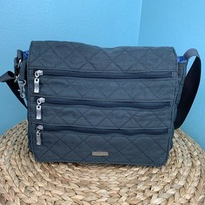 Baggallini Dark Gray Three Zipper  Crossbody Bag